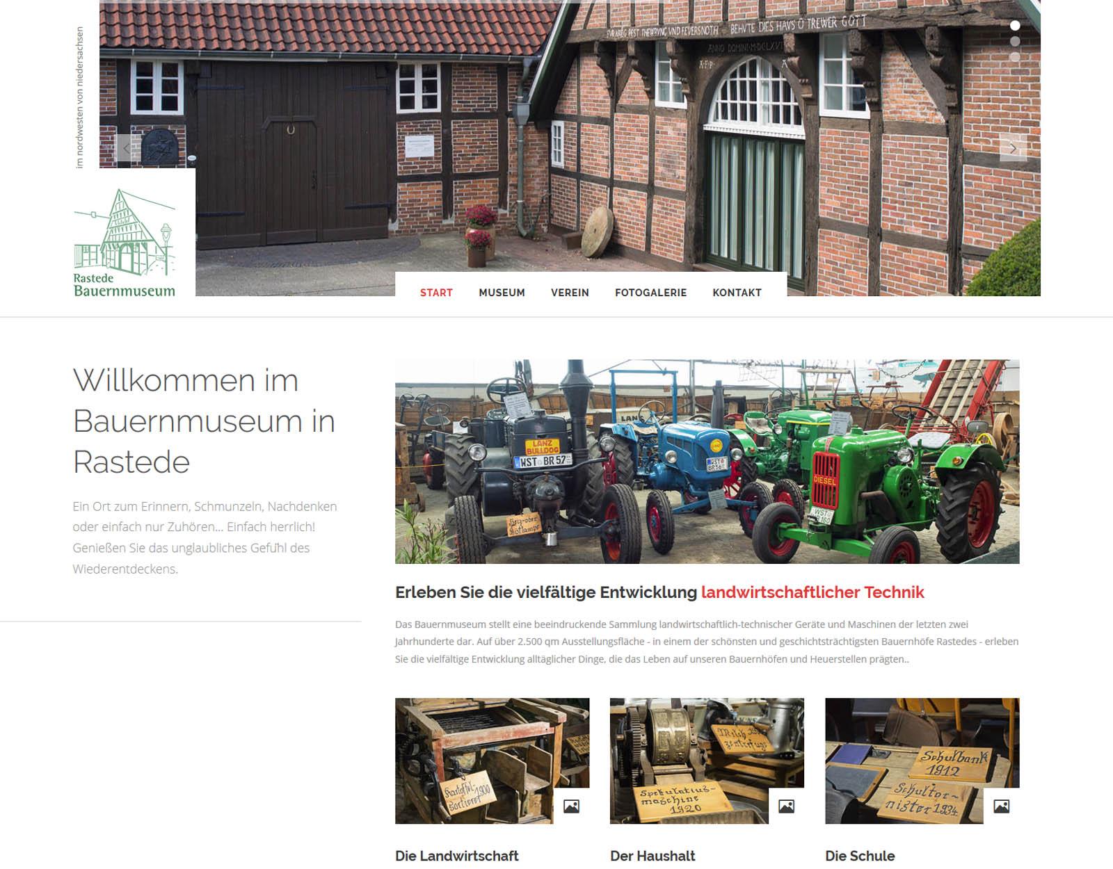 Startseite der Website Bauernmuseum Rastede