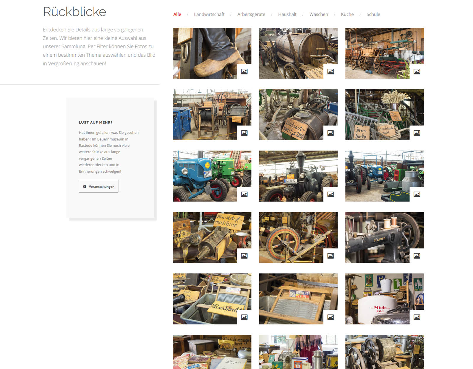 Fotogalerie der Website Bauernmuseum Rastede