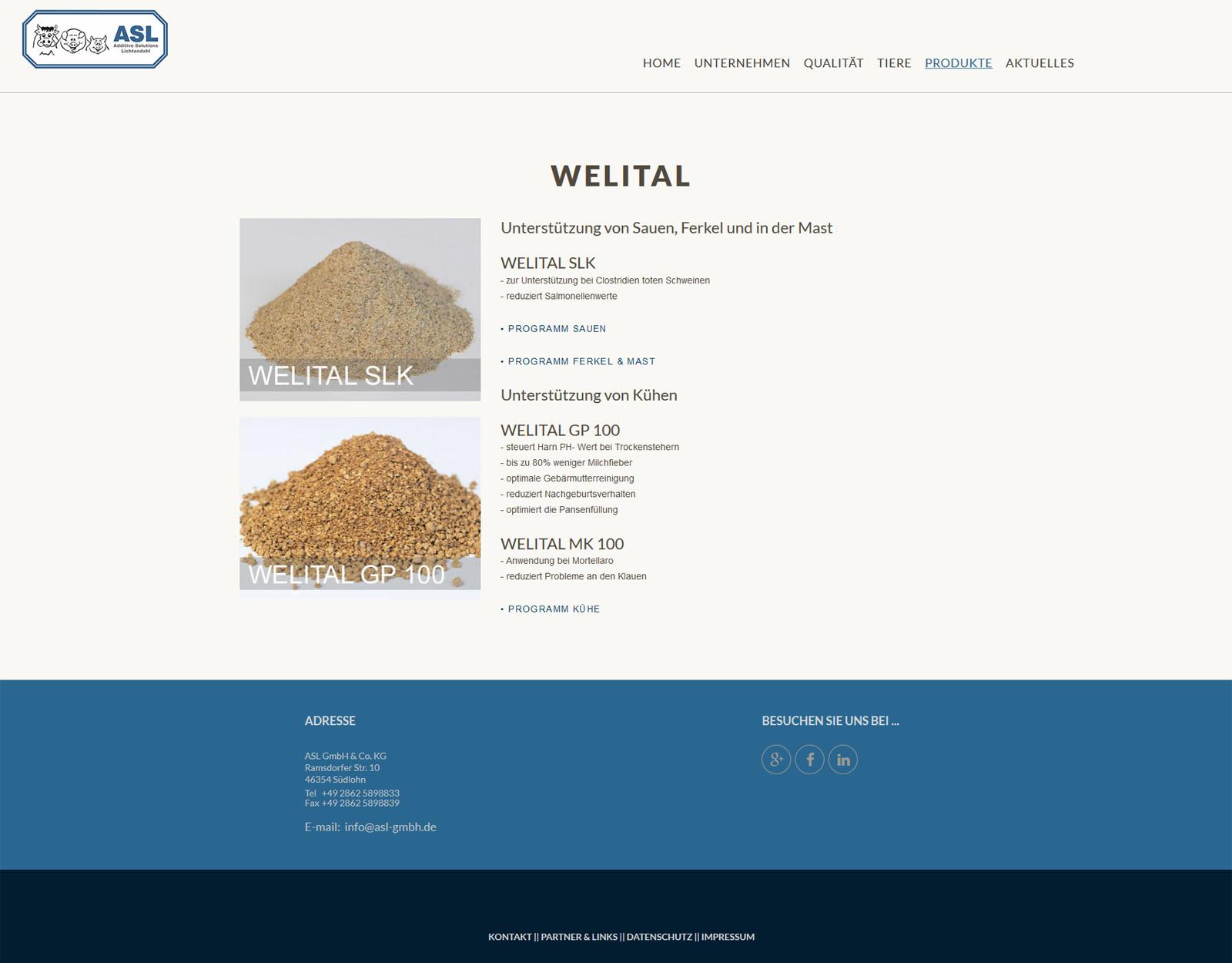 website ASL GmbH - Produkte