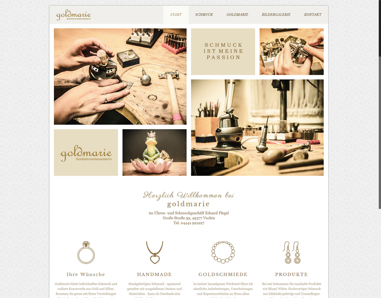 Startseite Website Goldmarie Vechta