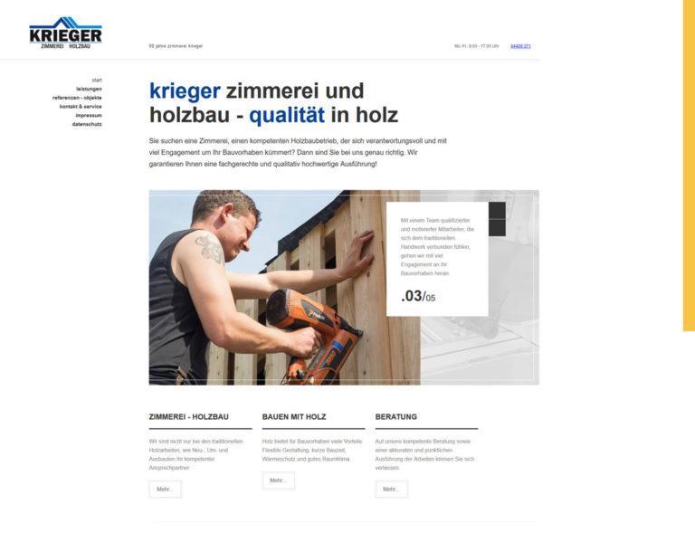 Screenshot von der Startseite der website