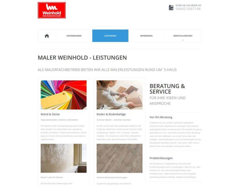 Screenshot Website Maler Weinhold