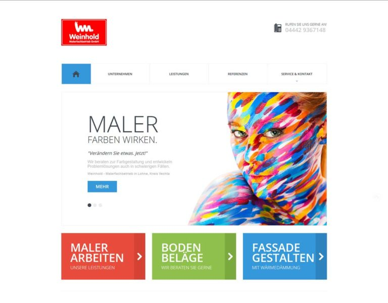 Screenshot Home - Website Maler Weinhold