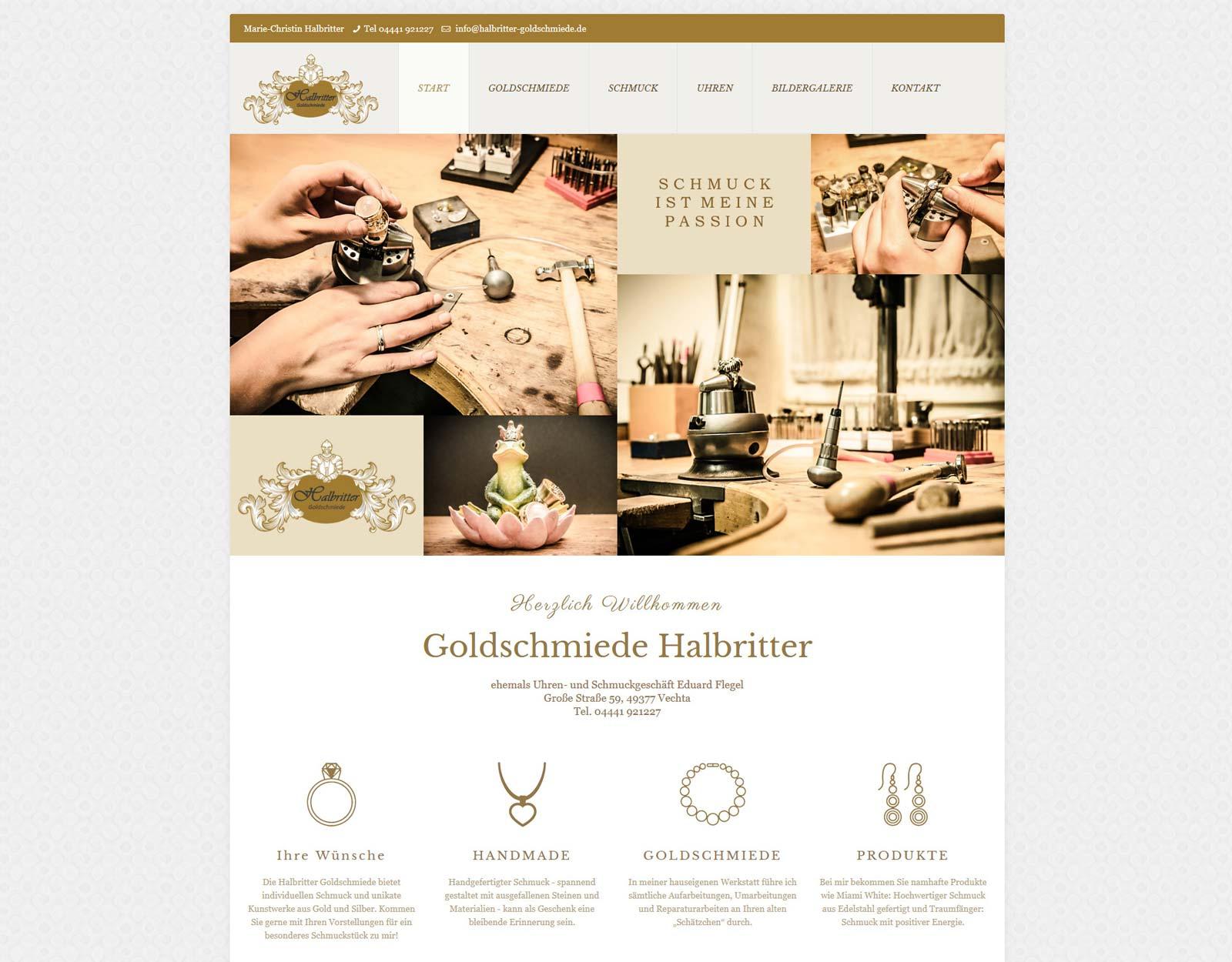 Website Goldschmiede Halbritter Vechta
