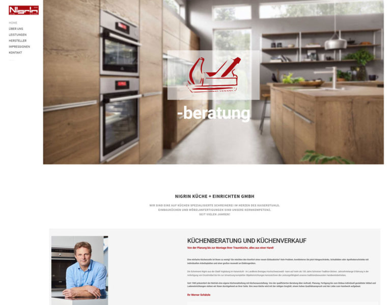 Website Onepager Nigrin Küchen