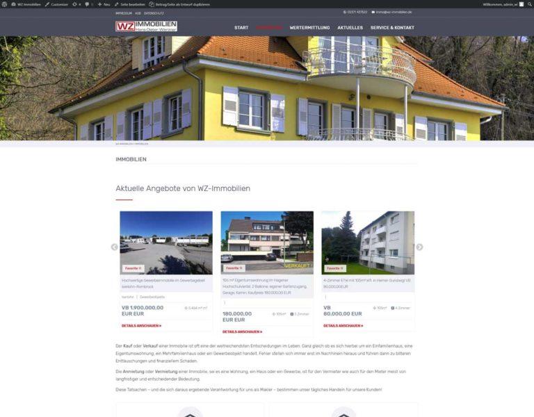 WZ Immobilien Seite Immobilien
